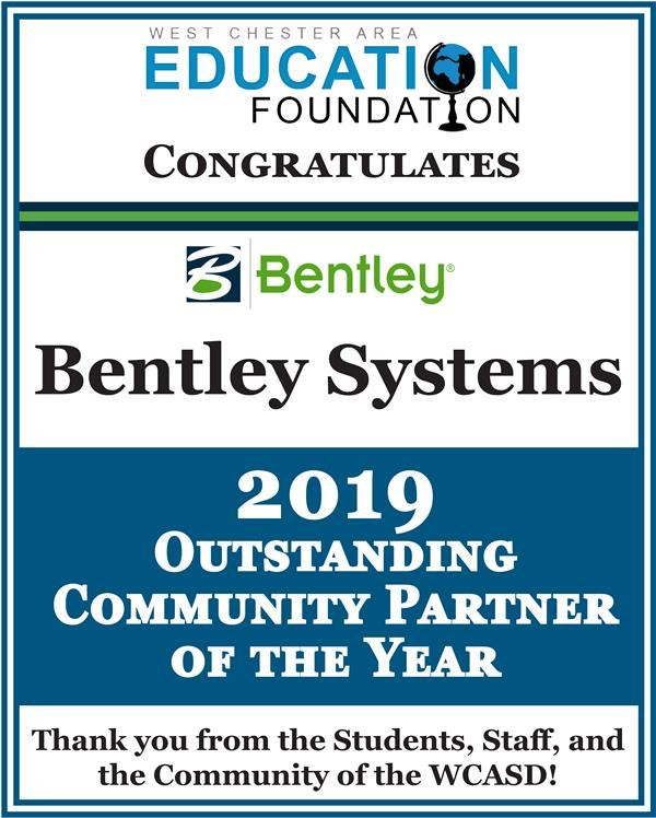 2019 Outstanding Community Partner of the Year Bentley Systems