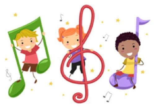 Children and Music Symbols